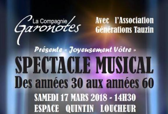 Spectacle musical caritatif et gratuit – des années 30 aux années 60 par la compagnie Garonotes